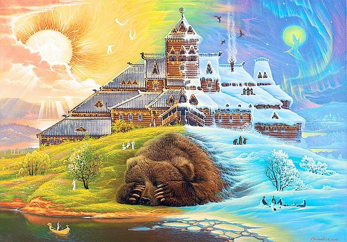 комоедица, масленица, медведь, картина, славянская культура, весна, солнце и луна