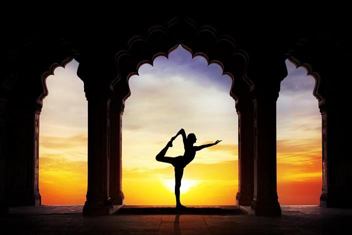 натараджасана, йога, закат